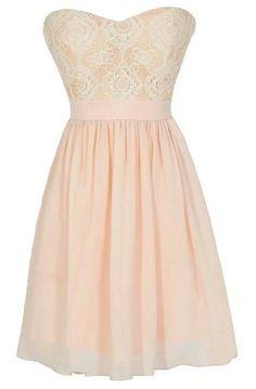 Short Strapless Blush Dress W/ Lace Top.