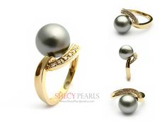 10.0mm-11.0mm black Cultured Tahtian Pearl Ring -18k solid gold with diamond accent