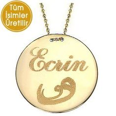 Goldstore 14 Ayar Altın Madalyon Vav ve İsim Kolye GP20124 | | Kolye