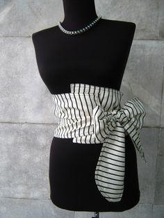 Textile ceinture corset - noir et blanc Plus