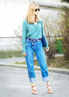 Love the shoes and the deep cuff - the scarf belt or how the jeans fit: not so much!