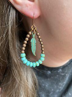 2020 jewelry Essential Boho Earrings by KarabooJewellery on Etsy Bead Jewellery, Clay Jewelry, Boho Jewelry, Beaded Jewelry, Fashion Jewelry, Jewelry Design, Jewelry Crafts, Vintage Jewelry, Diy Schmuck
