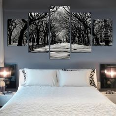 snow quiet streets of the city after picture canvas painting decorated hotel apartments on walls Art paintings unframed