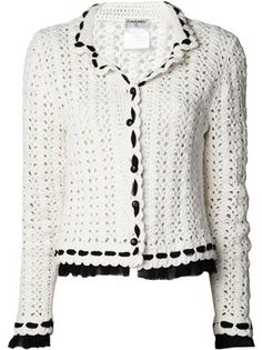 Chanel Vintage double collar crochet jacket