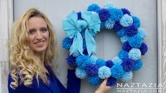 DIY Tutorial - Learn How to Make Easy Simple Beginner Yarn Pom Pom Wreath by Donna Wolfe from Naztazia...