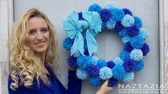 DIY Tutorial - Learn How to Make Easy Simple Beginner Yarn Pom Pom Wreath by Donna Wolfe from Naztazia...