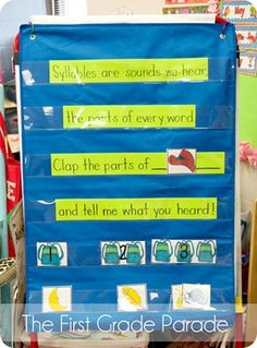 Many children learn and remember things when put to song. This is a song that helps to teach syllables. Using picture cards, the students are able to sing the song and then tell the teacher how many syllables are in the word. Kindergarten Literacy, Literacy Activities, Leadership Activities, Literacy Skills, Educational Leadership, First Grade Parade, Phonological Awareness, First Grade Reading, Workshop