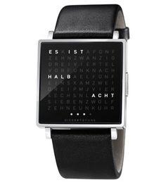In a square there is a grid of 110 letters. When the stainless steel button is pressed, words light up in unexpected places which describe the time. Whenever you look at your QLOCKTWO W it is a new experience.