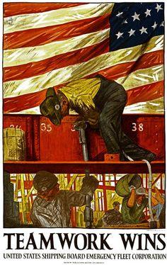 WWI, United States Shipping Board Emergency Fleet Corporation, 1917. Artist: Hibberd Van Buren Kline.