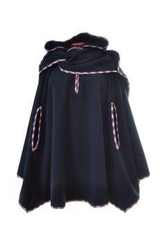 Cape capuche écharpe à poches en polaire noir et carreau rouge   Manteau,  Blouson, 3cee072095c