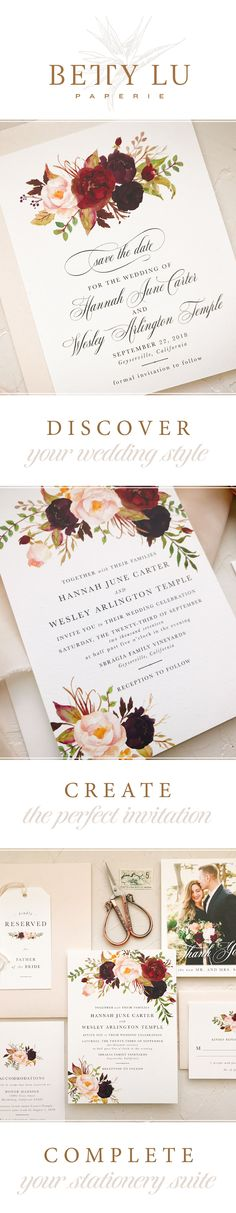 Burgundy blush wedding invitations and stationery. Give guests an exciting glimpse into your bohemian wedding!
