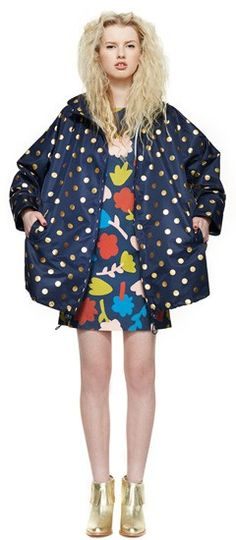 Gorman AW14 collection, featuring navy and gold foil spotted raincoat. How did I miss this?!