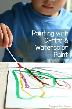 Q-Tip painting for kids using watercolors toddler art projec Toddler Art Projects, Toddler Crafts, Toddler Activities, Projects For Kids, Q Tip Painting, Painting For Kids, Art For Kids, Art With Toddlers, Painting Activities