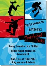 Skateboarding birthday party invitation. Very cool for a guys party with a bunch of his guy friends.