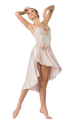 Champagne sequin mesh over ivory spandex leotard with adjustable straps. Embroidered floral and pearl appliqué trim. Lyrical Dance Dresses, Ballroom Dress, Dance Leotards, Dance Outfits, Cute Dance Costumes, Dance Costumes Lyrical, Ballet Costumes, Dance Photography Poses, Dance Poses