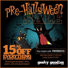 15% OFF EVERYTHING at GeekyGoodies.com.    All board game and geeky T-shirts, posters, cards and cupckae toppers!  Use coupon code: PINTEREST15   (Valid Friday, October 21, 2016 until Sunday, October 23, 2016).  #BoardGamer #Tshirts #shirts #BoardGames #BoardGame #BoardGameGeek #Tshirt #shirt #discount #Sale #GeekyGoodies