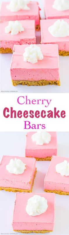 A recipe for Cherry Cheesecake Bars. Easy to make Cherry Cheesecake Bars perfect summer dessert! No Bake Cherry Cheesecake, Cheesecake Bars, Cheesecake Recipes, Dessert Recipes, Summer Desserts, Just Desserts, Pink Desserts Easy, Yummy Treats, Sweet Treats