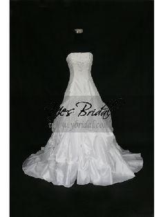 Ball Gown Strapless Semi-cathedral Train Capri Taffeta Wedding Dress WBG0004