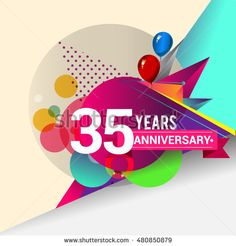 35 Years Anniversary logo with balloon and colorful geometric background, vector…