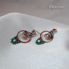Hammered copper earrings with faceted Czech glass beads by Artual