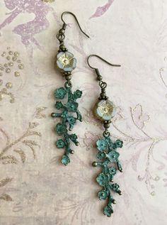 woodland jewellery forest earrings Uk made miniature owls Cute owls light blue clay earrings with bronze bead caps bohemian earrings