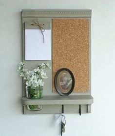 Flagstone Gray Corkboard Message Board...Note by cottagehomedecor, $44.95