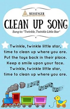 Miss Sarah's Storytime: Clean Up Song Poster for Early Learning Spaces