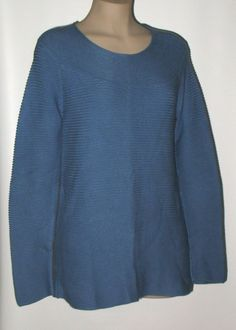 TALBOTS Cable Knit Tunic Sweater M Cotton Blend - Blue #Talbots #CableKnitTunicSweater