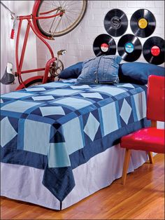 A simple pieced quilt makes a great gift for the young graduate. Denim is sure to match any college-dorm decor. This e-pattern was originally published in the August 2010 issue of Quilter's World magazine. Size: x Block Size: x Skill Level: Beginner - Quilt Patterns Free, Wall Patterns, Blue Jean Quilts, Denim Quilts, Fancy Kitchens, Pinwheel Quilt, College Dorm Decorations, Denim Ideas, Quilted Wall Hangings