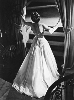 """Christian Dior's evening gown named """"Offenbach"""", photo by Willy Maywald, 1950"""