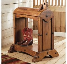 Mesquite Saddle Stand - A Black Forest Decor exclusive - Handmade from heavy mesquite, this saddle stand is one of a kind. Horse Stalls, Horse Barns, Horses, Horse Tack, Saddle Chair, Saddle Rack, Western Furniture, Vintage Furniture, Wood Furniture