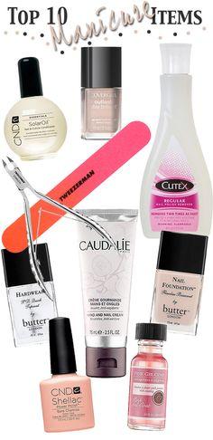 Top 10 Manicure Items.