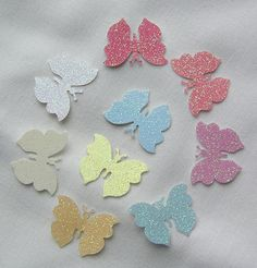100 Die Cut Butterflies Mixed Glitter by SunnyCollectables