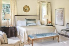 Neutral Master Bedroom with Warm Touches  Style: Traditional   Photography: Peter Vitale Home Builder: Jeremy Larson Architecture: Don Ruggles and Melissa Mabe-Sabanosh, Ruggles Mabe Studio Interior Design: Suzanne Kasler, Suzanne Kasler Interiors Landscape Architecture: Alec Michaelides