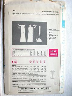 Vintage 1960s Butterick dress pattern #4874 in a size 16. Measurements:    Bust - 38  Waist - 29  Hip - 40    Misses One Piece Dress: Semi-fitted A-line dress with scoop neckline, has front button opening. Short sleeves.    This pattern is uncut, in factory folds, and complete with instructions. The envelope has edge wear and light age-related discoloration/spots. My home is smoke free.    Shipping costs have been calculated from CA to NY with delivery confirmation. Your shipping costs may…