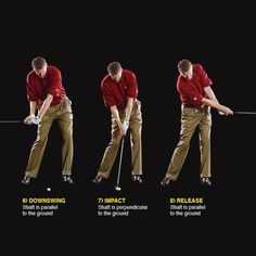 """THE FULLSWING Focus on parallel and perpendicular The final step is to put this sequence of positions into motion. The unifying move is creating the """"L"""" and maintaining swing width. If you do that, your swing breaks into a series of alternating vertical and horizontal shaft positions that you can consistently repeat. Golf Apps, Golf Pride Grips, Golf Score, Golf Putting Tips, Golf Instruction, Golf Tips For Beginners, Perfect Golf, Golf Player, Golf Training"""