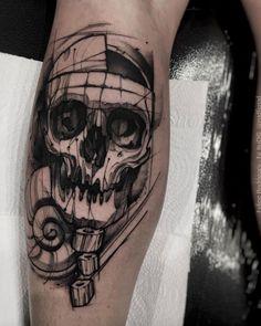 Sketch style skull tattoo by Felipe Rodrigues Fe Rod