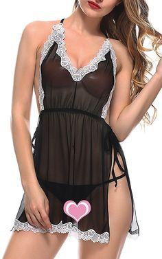36e951b3f48 BMAKA Women Sexy Lingerie Lace Babydoll Backless Underwear Chemise Set   Amazon.co.uk  Clothing