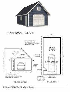 1 Car Garage Plan 544-4 by Behm Design