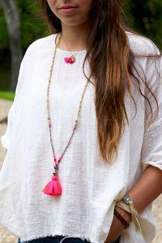 Bright Tassel Necklace, Boho Festival Style, Tahitian Pearl, Mystic Labradorite, Bone Beads, Vintage Yemen Coral, Hot Pink Tassel, Coachella
