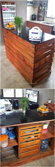 repurposed wood pallet kitchen island