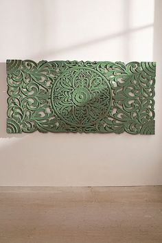 Shop Sienna Carved Green Headboard at Urban Outfitters today. Home Bedroom, Bedroom Decor, Bedding Decor, Green Headboard, Faux Headboard, Dresser Bed, Luxury Duvet Covers, Carving Designs, Decoration