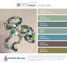 I found these colors with ColorSnap® Visualizer for iPhone by Sherwin-Williams: Bungalow Beige (SW 7511), Nurture Green (SW 6451), Teal Stencil (SW 0018), Calico (SW 0017), Manitou Blue (SW 6501), Poetry Plum (SW 6019), Rural Green (SW 6418).