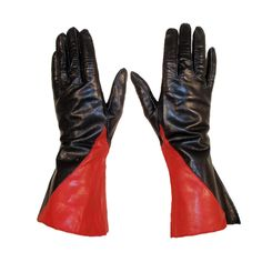 Vintage Red & Black Leather Gauntlet Gloves, c. 1980s | From a collection of rare vintage gloves at http://www.1stdibs.com/fashion/accessories/gloves/