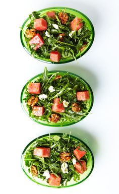 Watermelon and Arugula Salad with Goat Cheese and Honey-Roasted Walnuts #recipe #healthy #salad