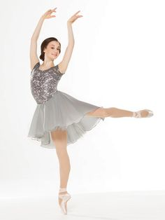 NEW! 2017 Collection Ballet Costume: Spandex leotard with floral sequin lace overlay and cap sleeves. Attached skirt has layers of chiffon. Includes hair clip, hanger and garment bag.