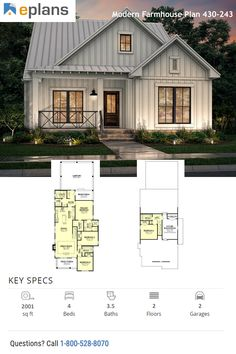 This modern farmhouse style home gives you an open floor plan, cute front porch, and plenty of room for modern farmhouse decor. Call 1-800-528-8070 today. #architect #architecture #buildingdesign #homedesign #residence #homesweethome #dreamhome #newhome #newhouse #foreverhome #interiors #archdaily #modern #farmhouse #house #lifestyle #design