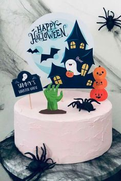 Don't miss this spooky Halloween party! The cake is awesome! See more party ideas and share yours at CatchMyParty.com #catchmyparty #partyideas #halloween #halloweenparty #halloweencake