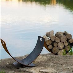 Wings of Flight Fire Wood Holder by Fire Pit Art at Timeless Wrought Iron (Outdoor Wood Holder)