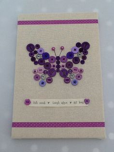 "Cute Button Wall Art Canvas, Purple Butterfly, 8""x12"""